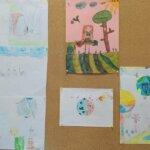 Na tablicy korkowej wisi sześć rysunków wykonanych przez dzieci. Rysunki dotyczą dbania o środowisko