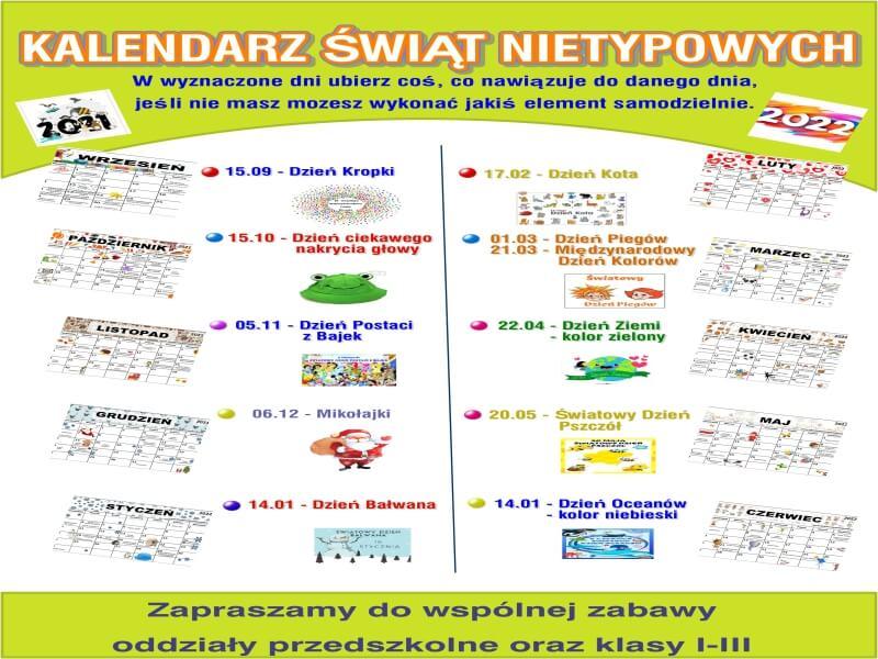 Read more about the article KALENDARZ ŚWIĄT NIETYPOWYCH