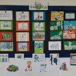 Rysunki wykonane przez dzieci klas pierwszych zachęcające do sprzątania świata i segregacji